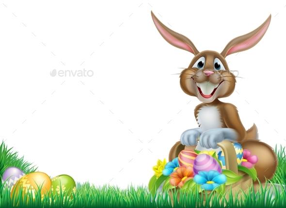 Cartoon Easter Egg Hunt Rabbit - Animals Characters