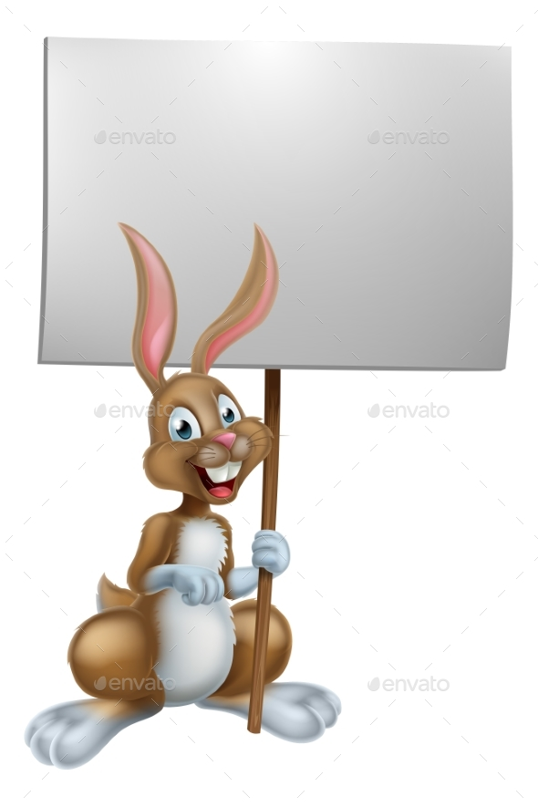 Easter Bunny Holding Sign - Animals Characters