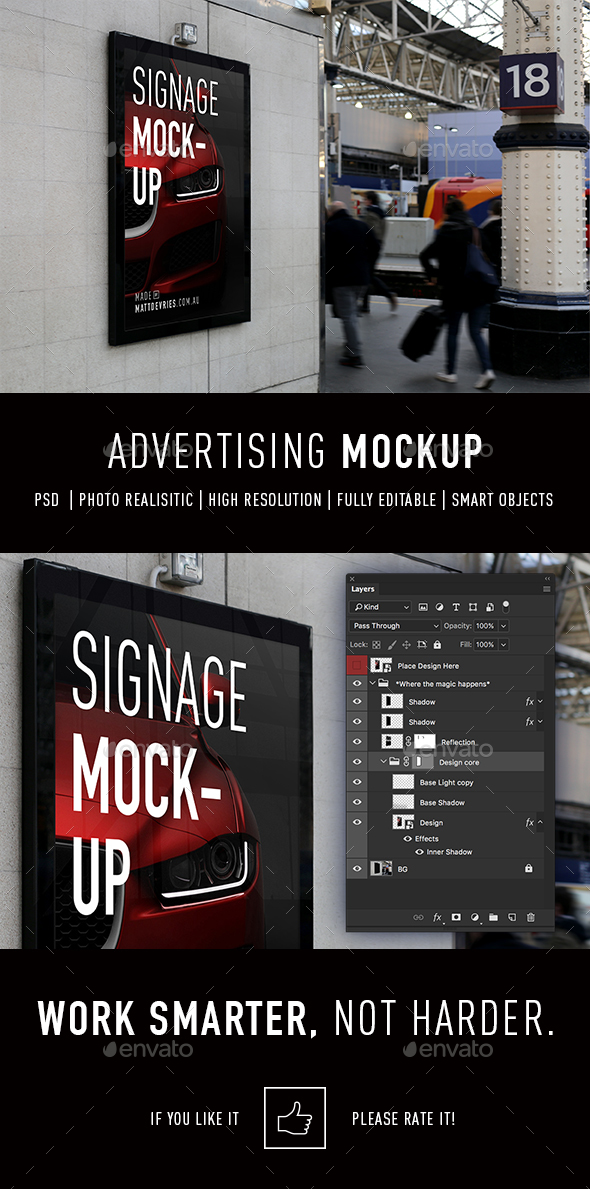 Smart Advertising Mockup PSD Template - Signage Print