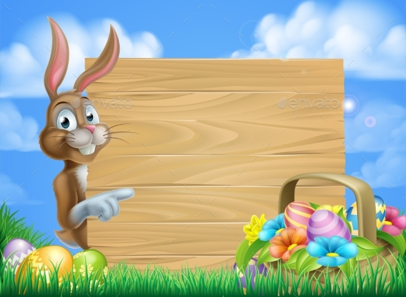 Easter Bunny Sign Background - Miscellaneous Vectors