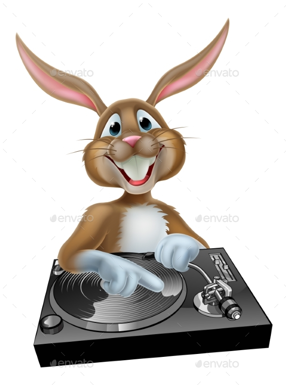 Cartoon Easter Bunny DJ - Backgrounds Decorative