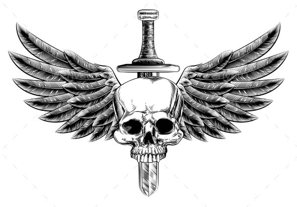 Woodcut Winged Skull Sword Insignia - Miscellaneous Vectors