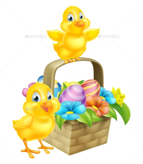 Cartoon Chicks and Easter Eggs Basket - Animals Characters