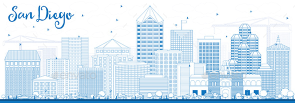 Outline San Diego Skyline with Blue Buildings. - Buildings Objects