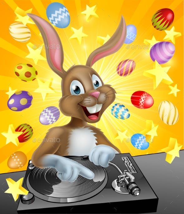 Easter Bunny DJ - Backgrounds Decorative