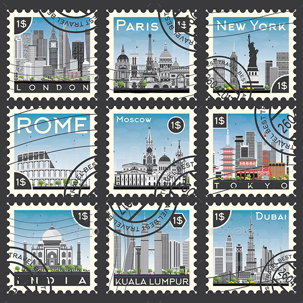 Set of Stamps with Different City and Landmarks. - Man-made Objects Objects