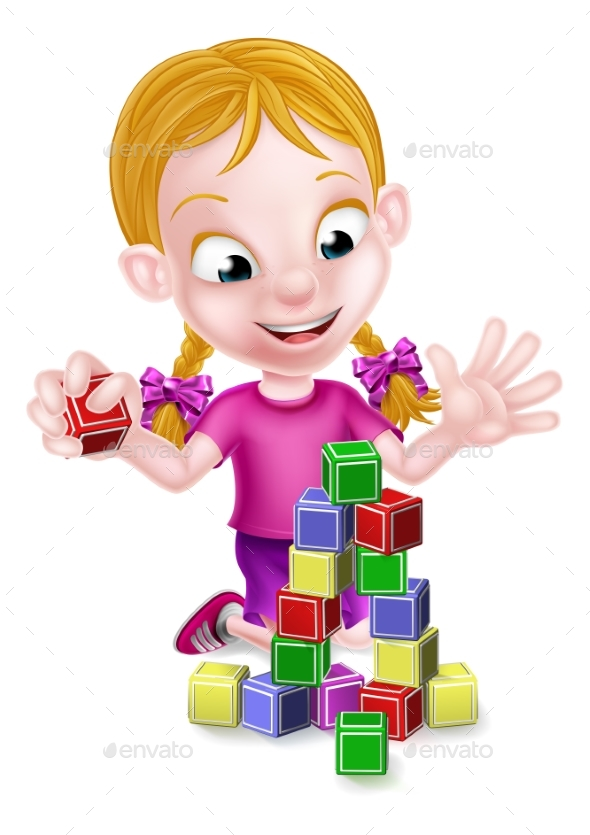 Girl Playing With Building Blocks - People Characters