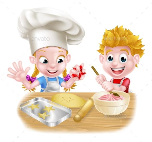 Cartoon Kids Baking - Food Objects
