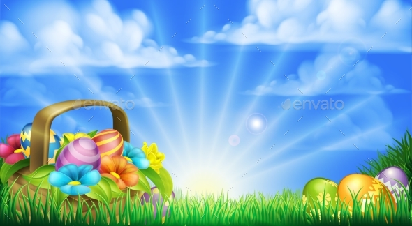 Easter Eggs Basket Background - Flowers & Plants Nature