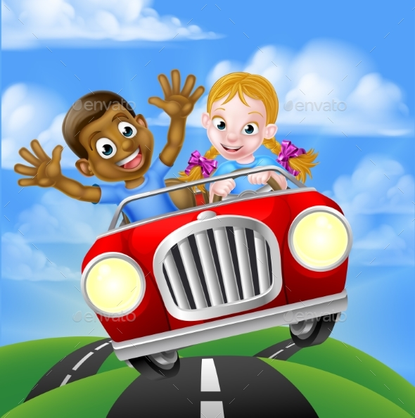 Children Driving Car - People Characters