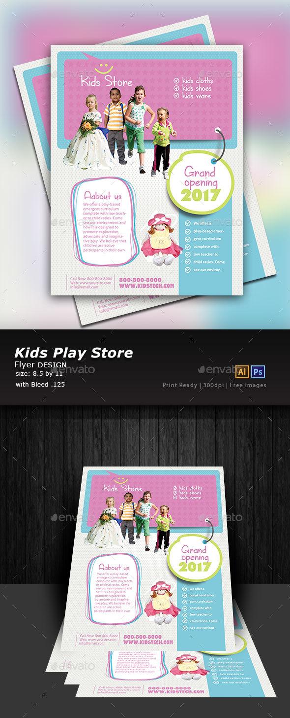 Kids Store Flyer Template - Flyers Print Templates