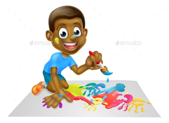 Cartoon Boy Painting With Brush - Miscellaneous Vectors
