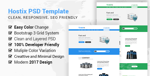 Hostix – Responsive Clean Hosting Site PSD Template nulled