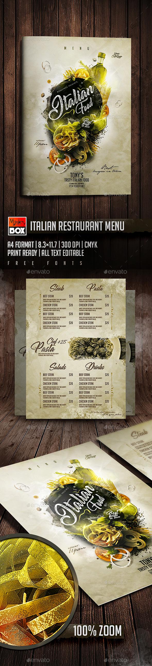 Italian Restaurant Menu - Food Menus Print Templates