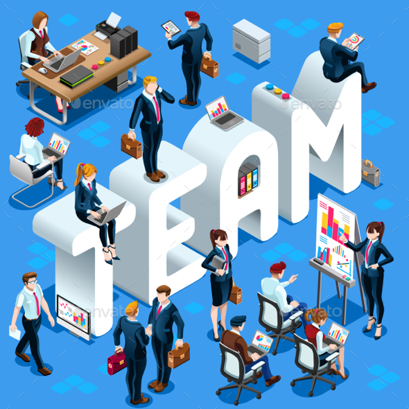 Team Isometric People 3D Set Vector Illustration - Vectors
