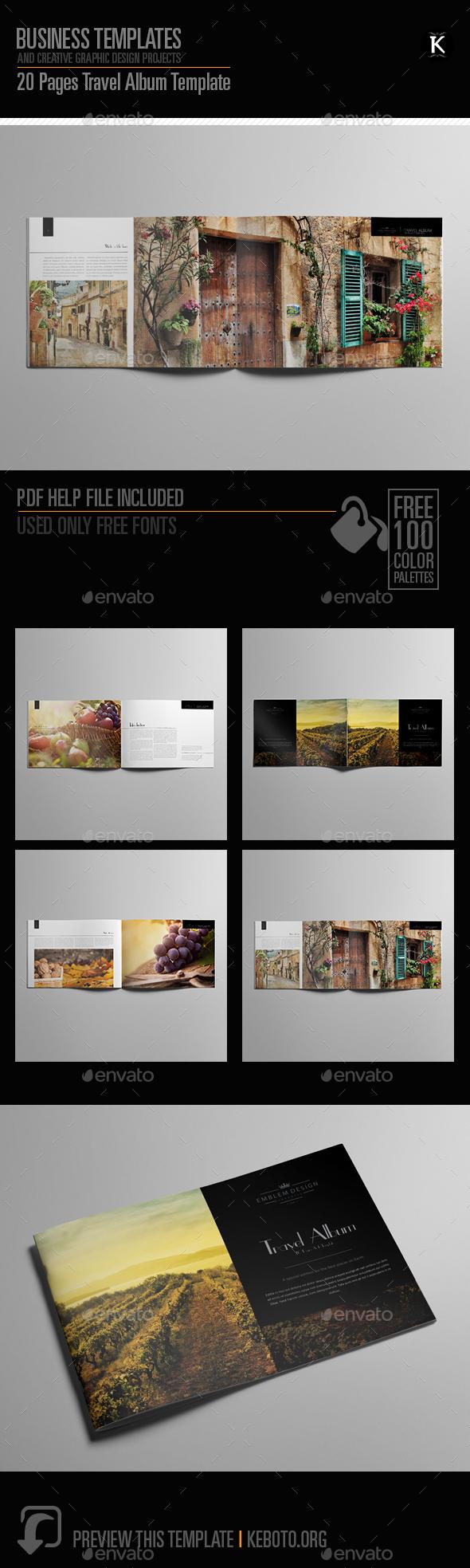 20 Pages Travel Album Template - Photo Albums Print Templates