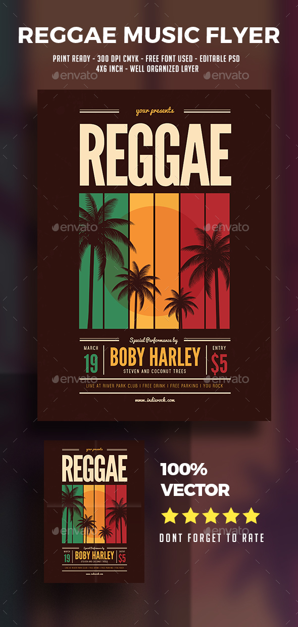 Reggae Music Party Flyer - Flyers Print Templates