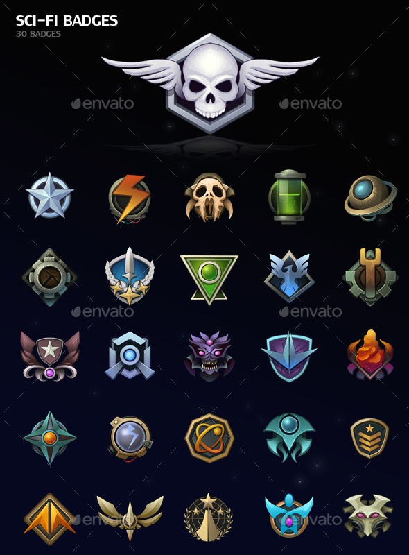 Sci-Fi Badges - Miscellaneous Game Assets