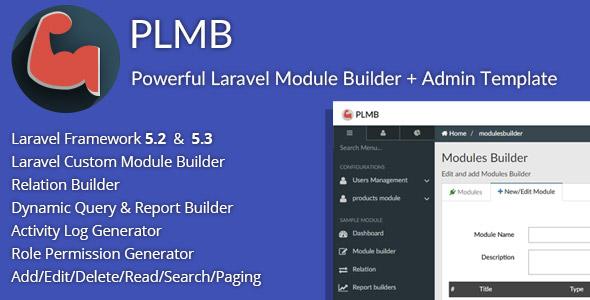 PLMB - Powerful Laravel CRUD Generator - Package Builder + Dynamic Report Builder + Admin Template - CodeCanyon Item for Sale