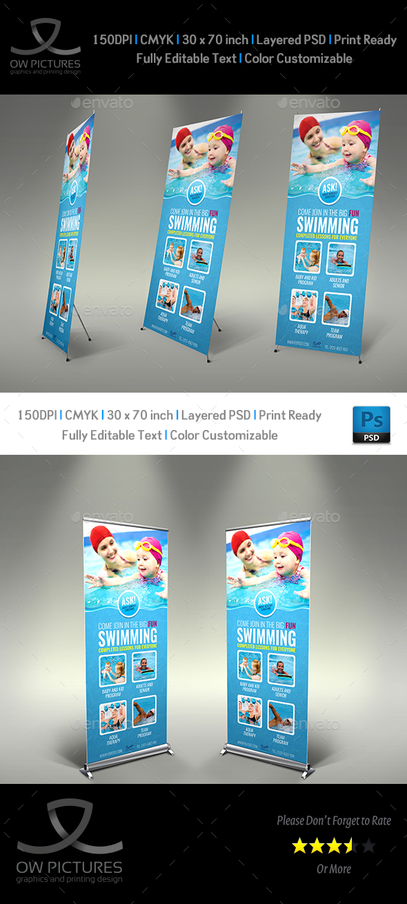 Swimming Signage Roll Up Banner Template - Signage Print Templates