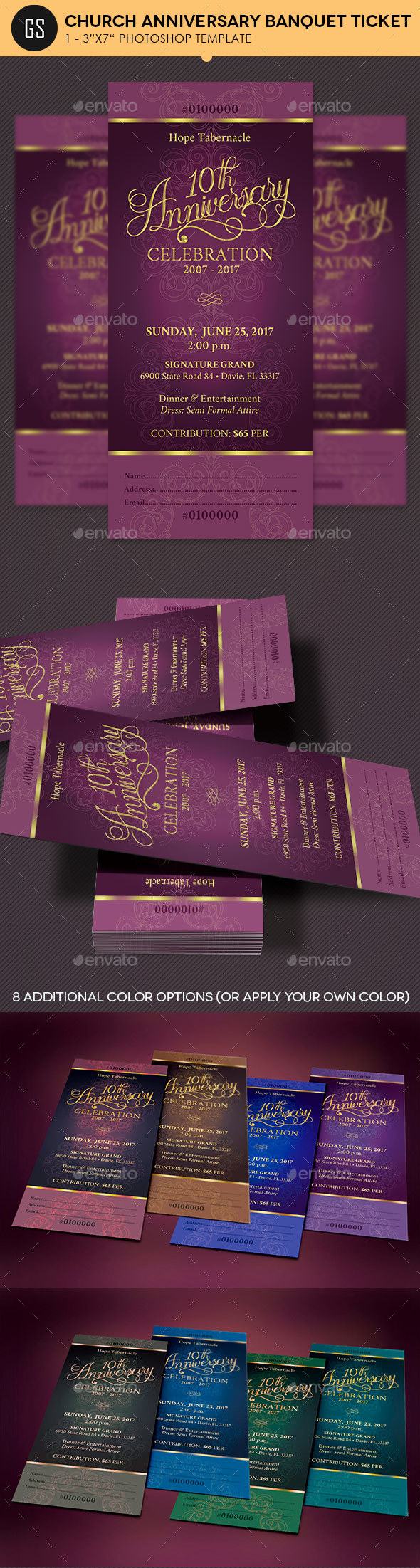 Church Anniversary Banquet Ticket - Miscellaneous Print Templates