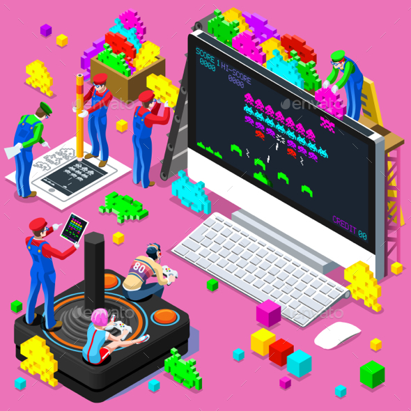 Video Retro Game Gaming Isometric People Vector Illustration - Vectors