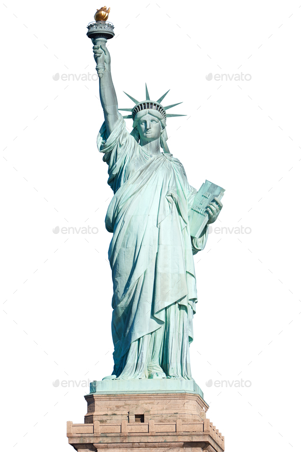Statue of Liberty in New York isolated on white, clipping path - Stock Photo - Images