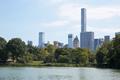 New York city skyline with Central Park pond view