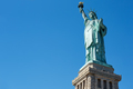 Statue of Liberty on clear blue sky in a sunny day, low angle vi