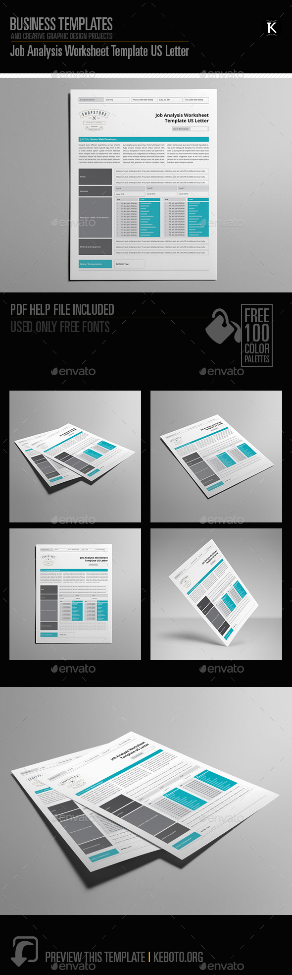 Job Analysis Worksheet Template US Letter by Keboto – Job Analysis Template