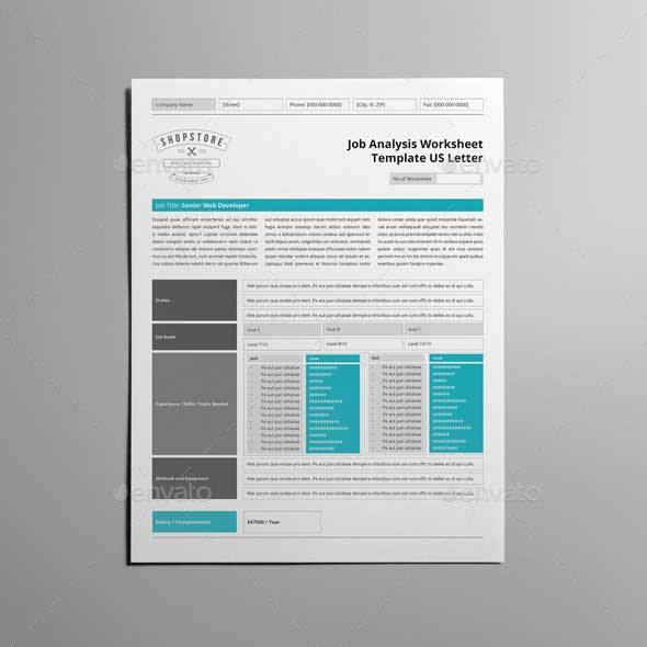 Job Analysis Worksheet Template Us Letter By Keboto | Graphicriver
