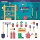 Gardening Equipment in the Garage - GraphicRiver Item for Sale