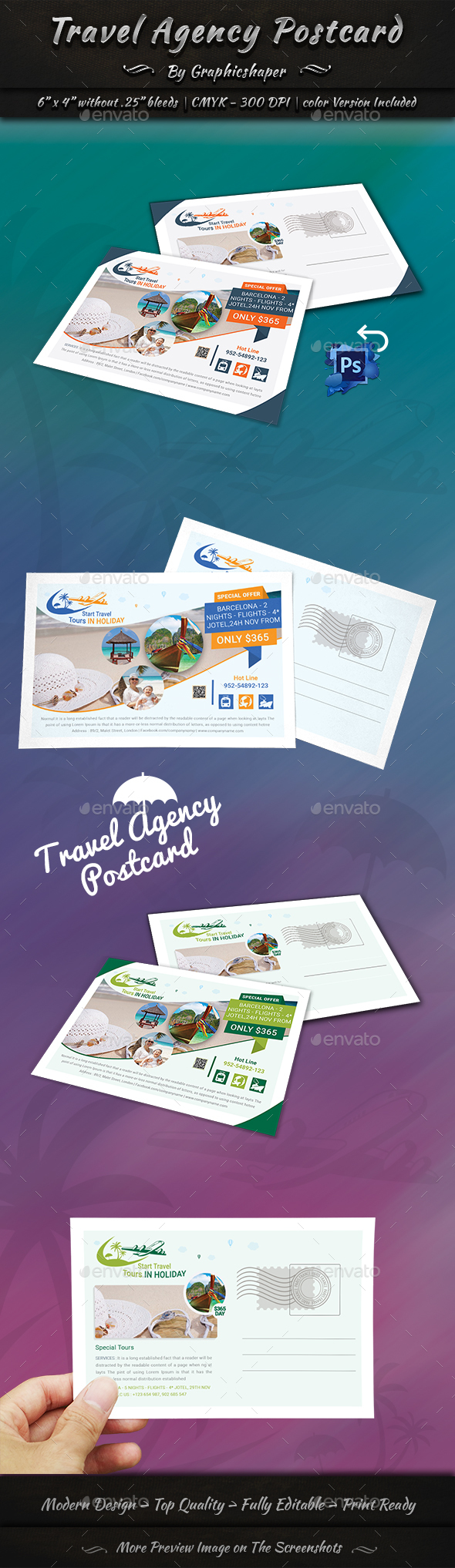 Travel Agency Postcard - Cards & Invites Print Templates