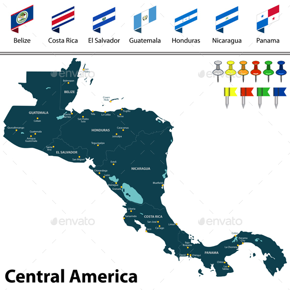 Map of Central America - Travel Conceptual