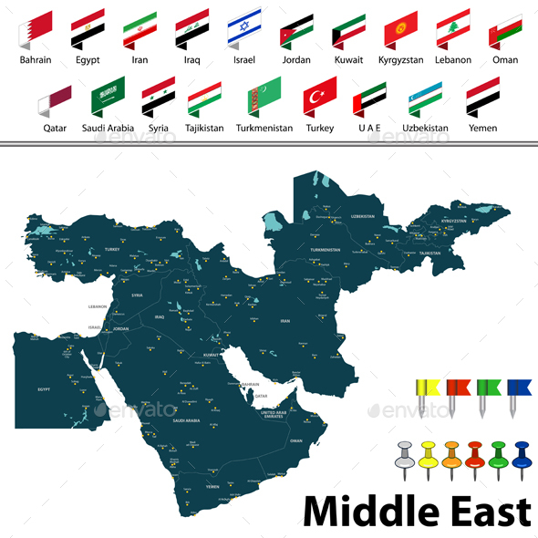 Map of Middle East - Travel Conceptual