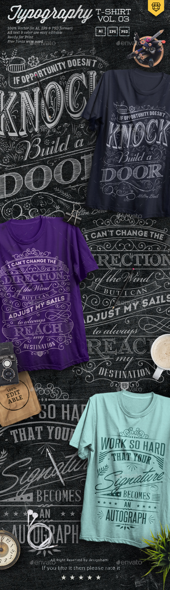 3 Quote Typography T-Shirts Vol.03 - T-Shirts