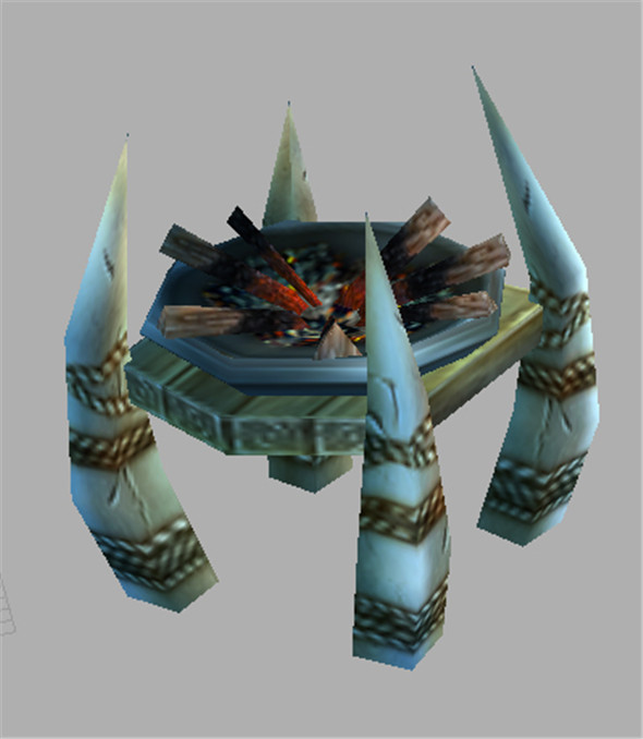 Game Model Arena - stone and wood brazier 01 - 3DOcean Item for Sale