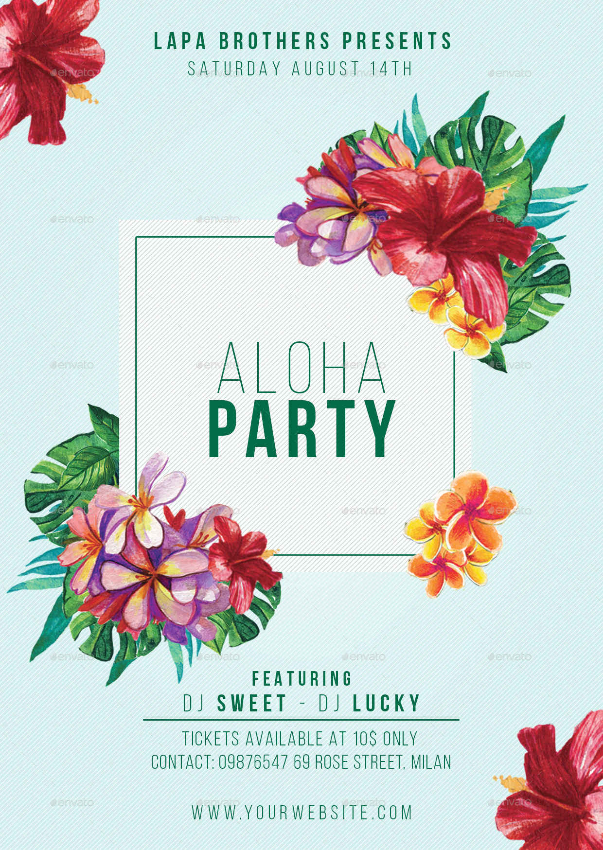 Aloha Party Flyer Template by Lapabrothers | GraphicRiver