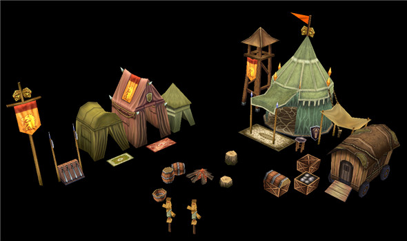 Game Model Arena - tent 01 01 - 3DOcean Item for Sale