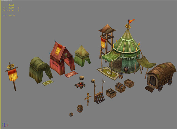 Game Model Arena - tent 02 01 - 3DOcean Item for Sale