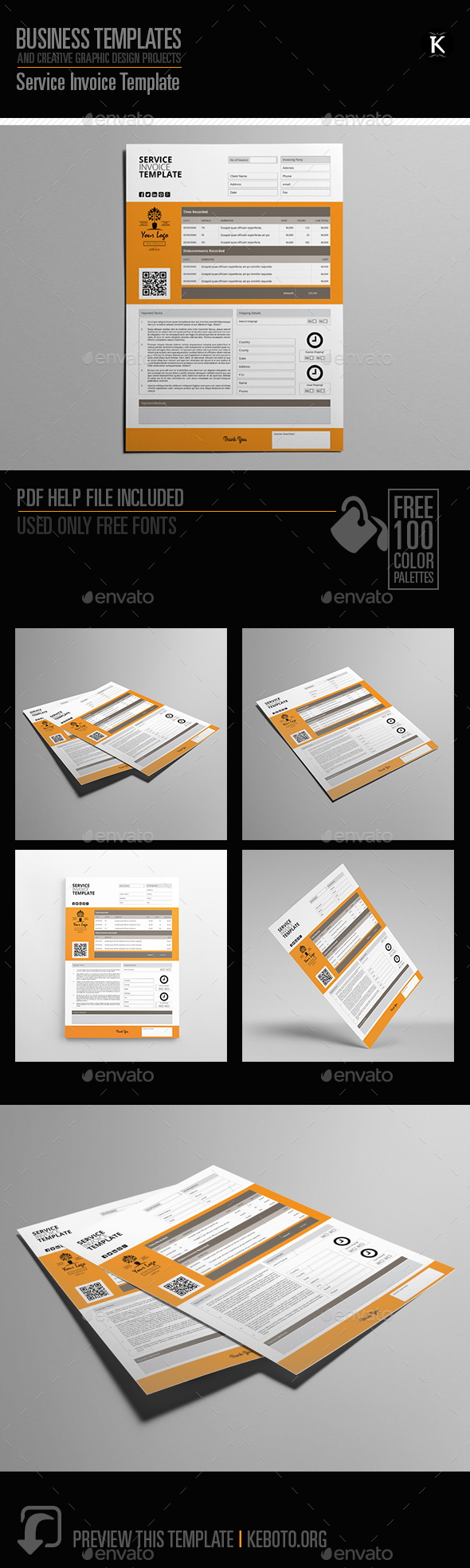 Service Invoice Template - Proposals & Invoices Stationery