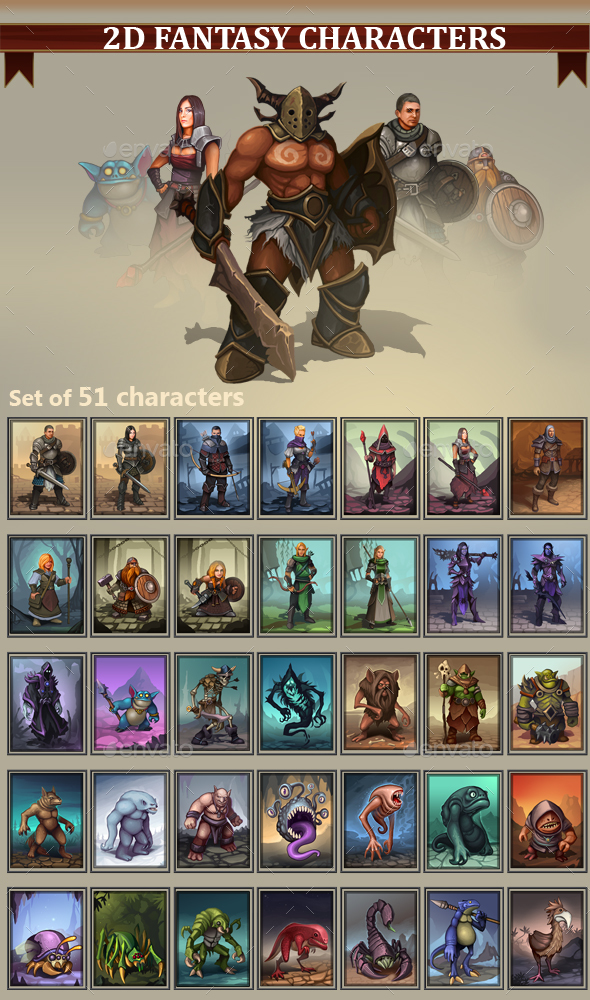 2D Fantasy Characters - Miscellaneous Game Assets