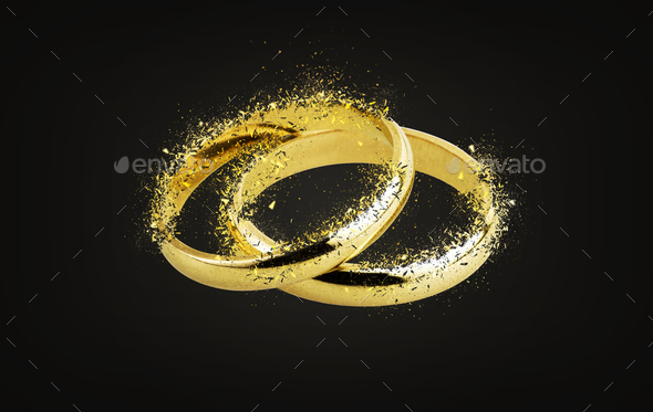 Old wedding rings Shattering - Stock Photo - Images