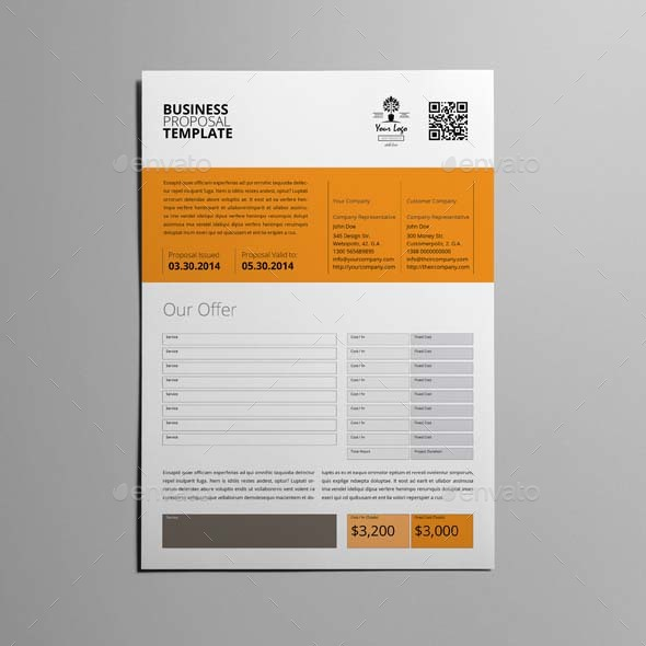 Business Proposal Template Single Page A4 By Keboto | Graphicriver