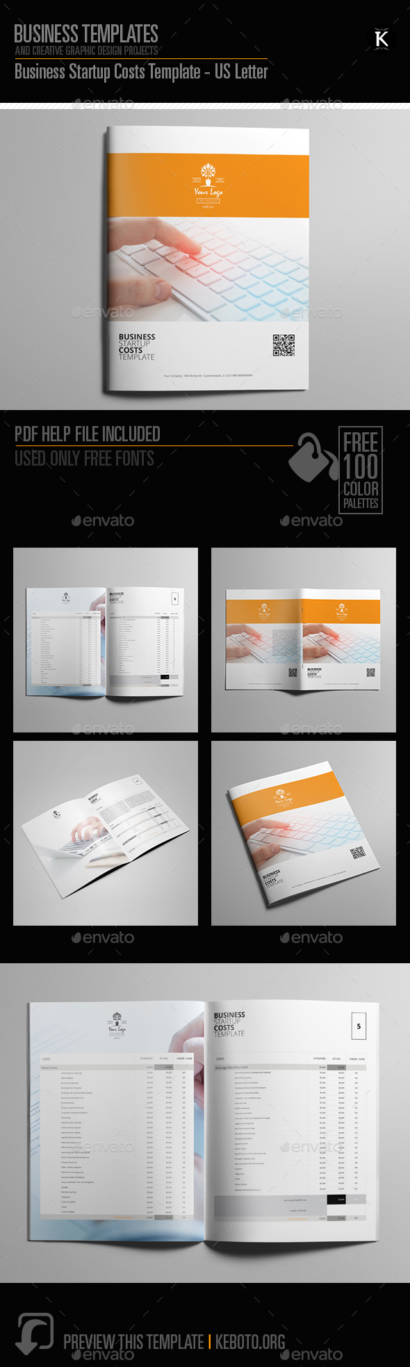 Business Startup Costs Template - US Letter - Miscellaneous Print Templates