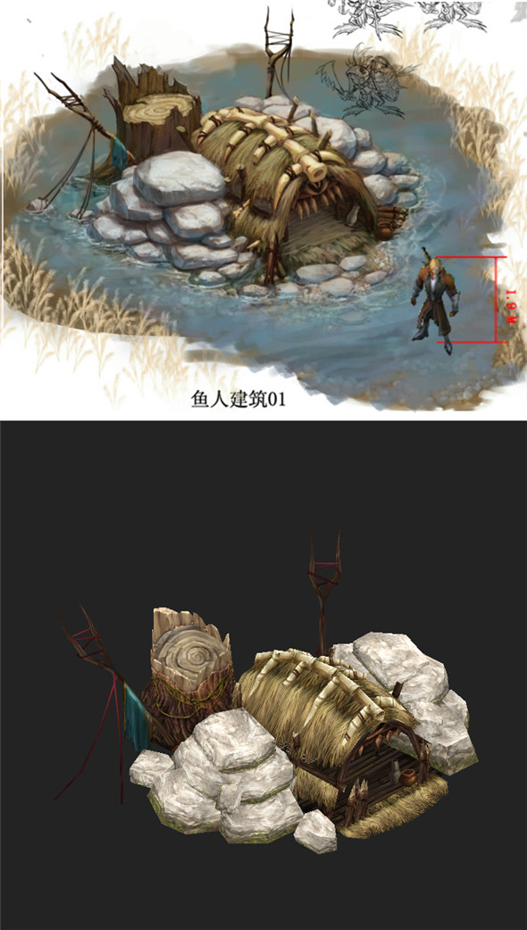 Game Model Arena - Wetland fish nest 02 01 - 3DOcean Item for Sale