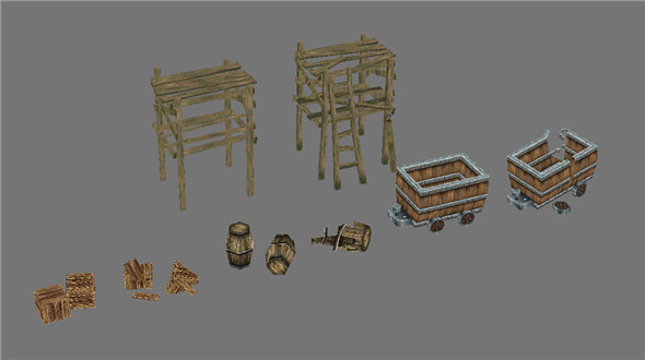 Game Model Arena - wooden casks wooden cart wooden 01 - 3DOcean Item for Sale