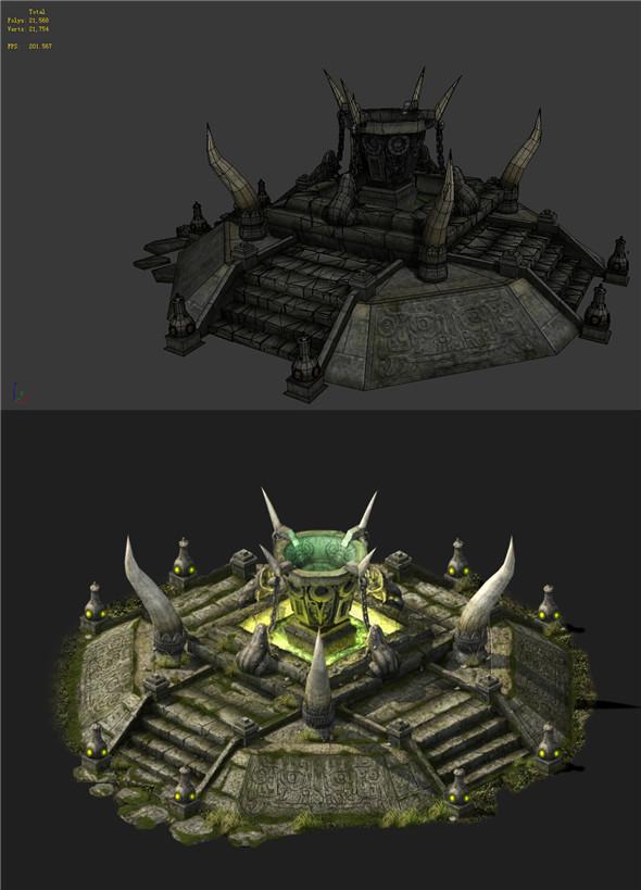 Game Models - poison Valley Scene - barbed altar 01 - 3DOcean Item for Sale