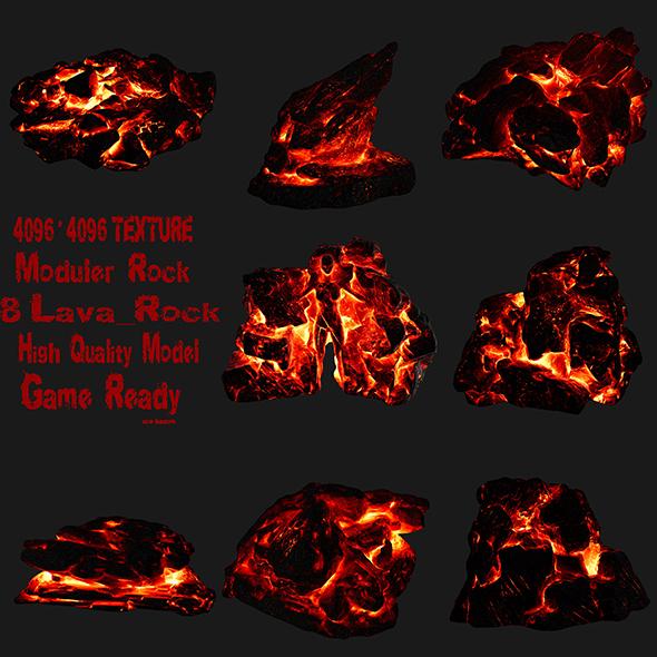 lava rock set - 3DOcean Item for Sale