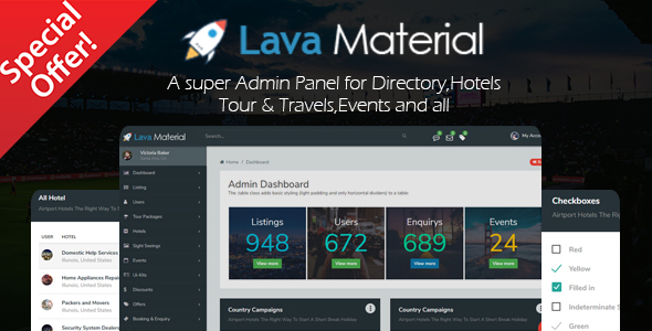 Lava Material – Web Application and Multipurpose Admin Panel Template